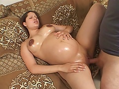 After her photo shoot, pregnant model Megann felt exhausted and had quick nap on the co