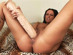 Slut with big boobs fuck her own pussy with a huge toy