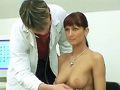 In this scene we have busty brunette Wendy Coming in for her check up. The doctor made her sit on a chair and took out his big