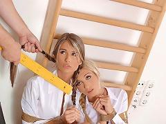 Bound lesbian schoolgirl set