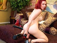 Georgeous red headed toying her pussy & ass at the
