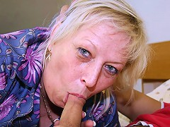 Chubby granny goes home with him and he is determined to fuck her pussy lustily