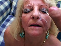 Threesome for the granny slut with two young men pounding her tender pussy