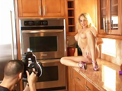 Shawna Lenee strips out of purple bikini and gets picture taken while playing with purple balloon