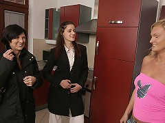 Horny mature lesbian shared by two hot babes