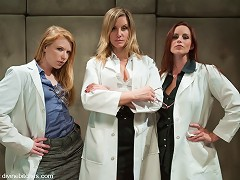 3 sadistic lesbian scientists use unconventional ways to stimulate patients prostate and potency then