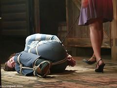 Mistress Annie Cruz strap on fucks and milks dorian