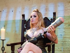 Bitchboy is brutally teased and denied by Goddess Aiden Starr with the power tool fucksall rubber puss
