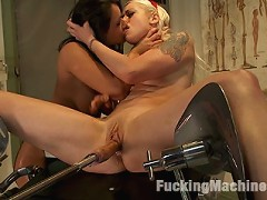 Blonde babe Lorelei Lee, big tits Charley Chase machine fuck in a medical clinic with huge dildos, forceps, spec