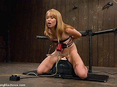 Sexy strawberry blond bound and machine fucked, cums hard in pile driver, missionary, doggie while machines