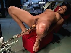 First time on film - local dancer fucks machines, cums hard.