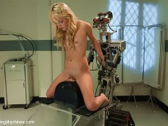 21yr old petite Blond dominated by Fuckzilla robot. She loses her mind on the Sybian,fucking it u