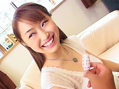 A horny Asian girl gets fucked by some big pink dildo and white vibrator