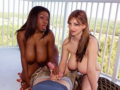 They dont come any more busty-chick-next-door than Janet Jade and Christy Marks. In her corner, b