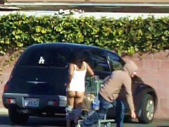 Pervert Guy runs up and pulls some radom ladys shorts down in the supermarket parking lot...