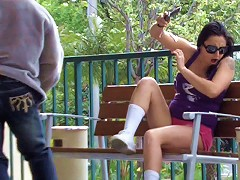 Completely unsuspecting chick with huge tits gets a major cumshot all over her perky nipples out in public!