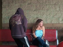 Looks like our friend here just couldnt keep it all in his pants when he saw this hot chick waiting!