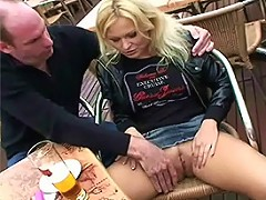 Blonde Katja keeps a lover just so she can fuck in public with him. Whenever she gets the chance she s