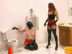 A new girl has arrived in our studios and we have put her to work right away cleaning the communal bathroom...