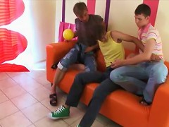Orange couch gets to see messy gay threesome
