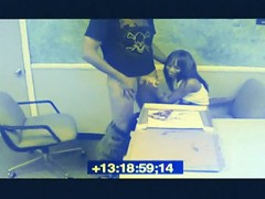 Chick blows her co-worker and jerks his cumshot on the pizza in the breakroom for others to eat is busted on s