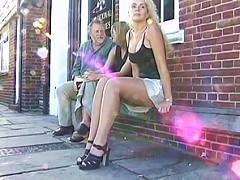 Slut pees right next to a couple