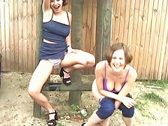 Two wild girls show off in London