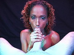 Black girl gives an excellent blowjob