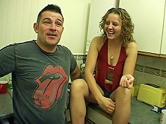 Hot nervous couple fuck on camera for the first time