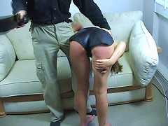 Hottie gets her ass beaten on the couch