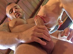 These two Latino muscle studs take to the outdoors for an ass-banging encounter. Making good use of the out
