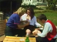 Her father never thought hed see his little girl getting fucked in a public park by two guys