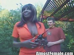 This tranny looks like a diva. Shes black with tits that look like they could be real. I guess shes