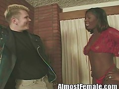 Sexy black tranny is addicted absolutely addicted to white meat. She likes pale dick more than anyt