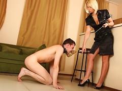 Strict and passionate Amanda can easily turn even the most ill-behaved guy into obedient slave who will do everything his brut