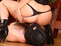 This masked guy looks like the most helpless creature in the world near his beautiful strict mistress. Today sexy M