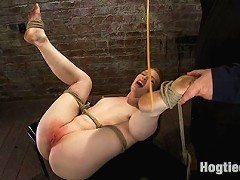 sexy red head gets her huge nipple tied and stretched! Bound tightly, caned and made to cum over and over, Dpd an