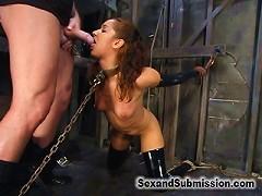 Submissive Isis Love returns for bondage and hard fucking.