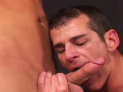 Angel brings buddy Jason Reed to a backroom and they get into a steamy threeway with Orion Cross. Angel takes plea