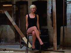 Angel-faced filthy whore Chloe Camilla metal-bound ass out on spinning device with hard caning and pussy clamps!