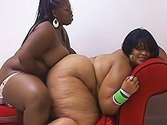 Dark and light skinned black BBW lesbians use a strap-on dildo for girl on girl screwing