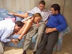 This hot scene starts off with fine-ass slut Paisley Hunter groping three guys and then sucking each guys cock while g