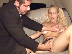 Julie J. is an all-natural slut and shes about to go wild on Johns big cock in the back seat.  John was ready to g
