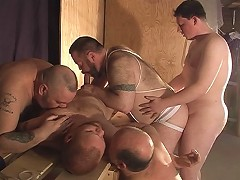 Their hairy asses were opened up wide for their masters, as they plunged their thick bear pricks inside of their