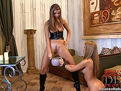 Latex-wearing sweet blondes Debbie White & Peaches have a bondage session with spanking, whipping & peeing, invol
