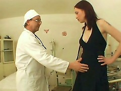 This clinic sex scene features Michelle coming in for her breast exam wearing a sexy black dress. She started teasing the doct