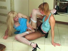 Sissy guy cant takes his eyes off a strap-on asking a babe for ass-poking
