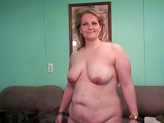 This chubby blonde housewife is Rebecca. Watch her interview and then get naked as she shows off what she has. See those big breas