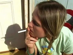 This young bitch has a vice and she just cant stop doing it. Watch this chick as she sits down on a chair outside