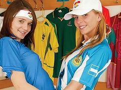 Two young teenage girls are playing with each other in the dressing room. After an exchange of tender kis